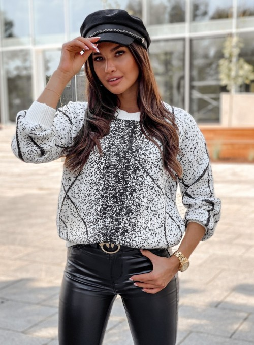 Sweter Dodi biało - czarny