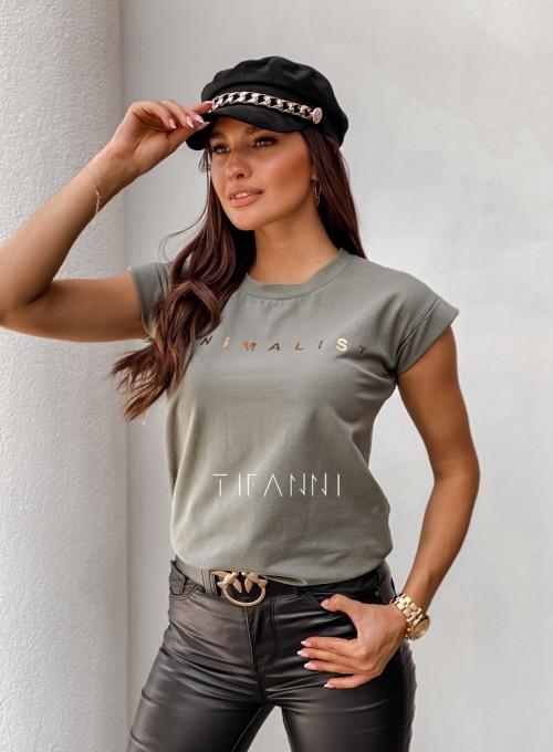 T-shirt minimalist khaki