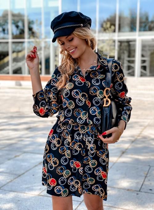 Sukienka koszulowa z kołnierzykiem Jeanet