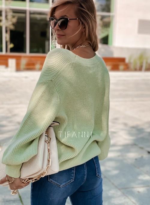 Rozpinany sweter Loret pistacjowy 2