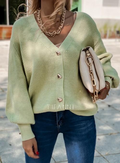Rozpinany sweter Loret pistacjowy 3