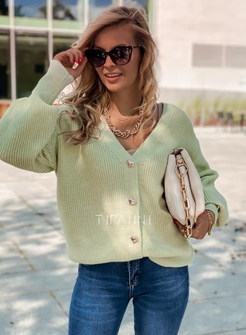 Rozpinany sweter Loret pistacjowy 4