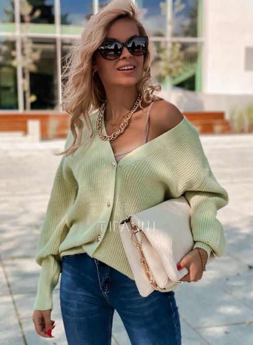 Rozpinany sweter Loret pistacjowy 5