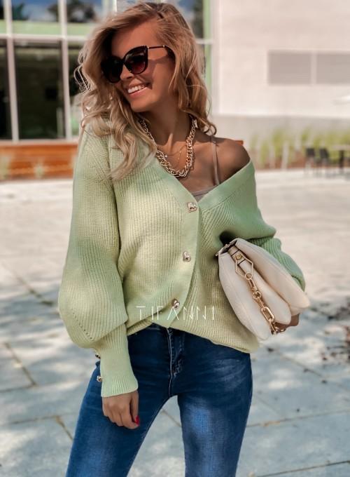 Rozpinany sweter Loret pistacjowy 6