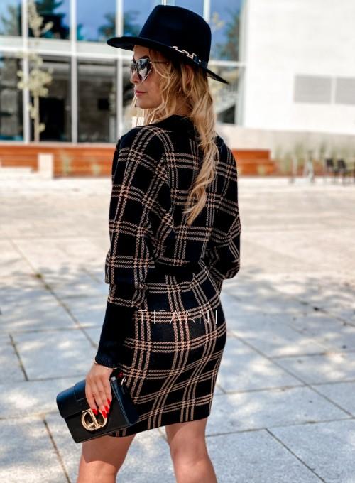 Dzianinowa sukienka Ximi czarna w karmelową kratę 2