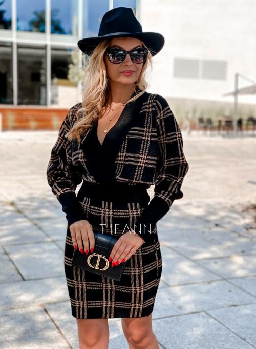 Dzianinowa sukienka Ximi czarna w karmelową kratę 3