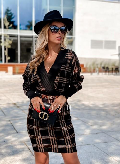 Dzianinowa sukienka Ximi czarna w karmelową kratę 6