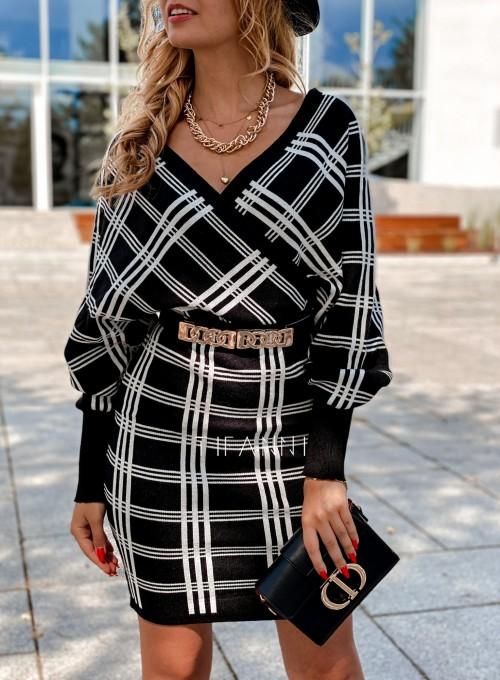 Sukienka dzianinowa Bibi czarna w białą kratę 1