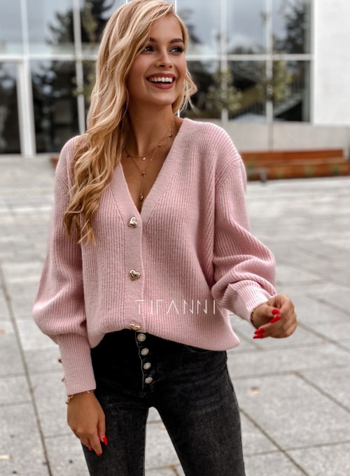 Rozpinany sweter Loret pudrowy 2