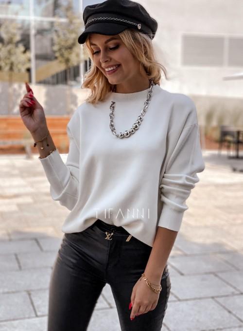 Bluzka sweter z łańcuszkiem Marco ecru 2