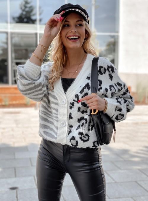 Sweter Angie rozpinany szary 4