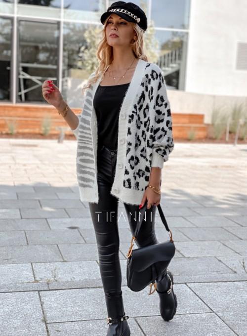 Sweter Angie rozpinany szary 5