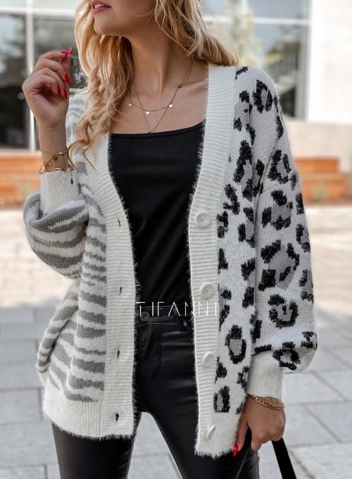 Sweter Angie rozpinany szary 1