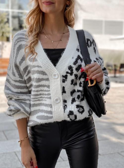 Sweter Angie rozpinany szary 6