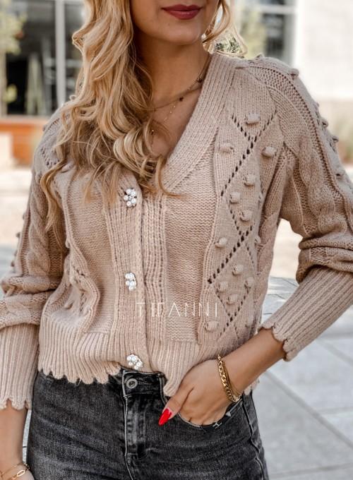 Sweter rozpinany z ozdobnymi guziczkami Carlen beżowy 1