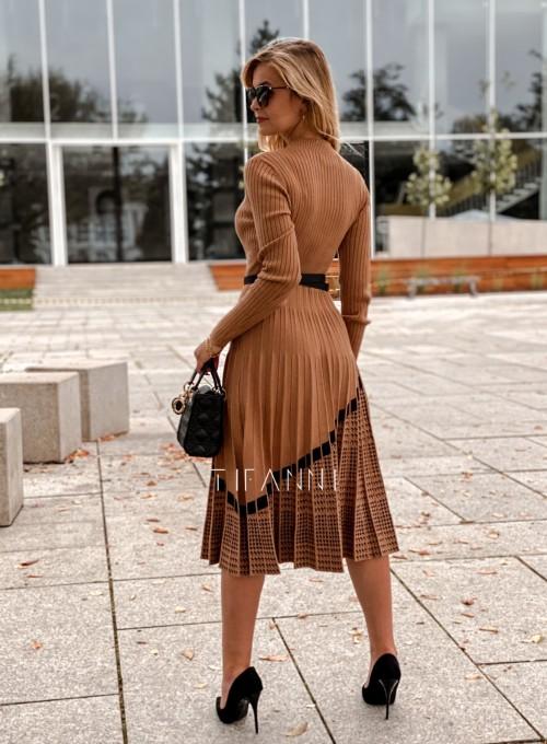 Sukienka Kaja dzianinowa karmelowa 2
