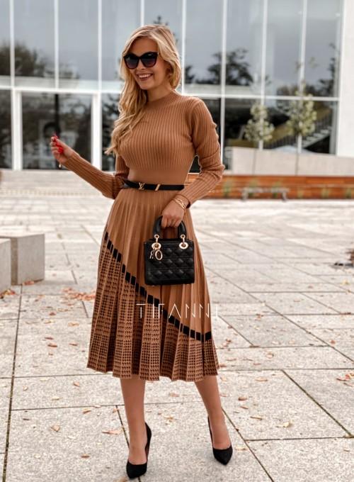 Sukienka Kaja dzianinowa karmelowa 5