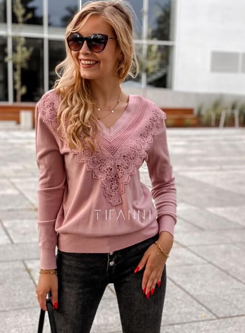 Sweter Roxi z dekoltem w V pudrowy