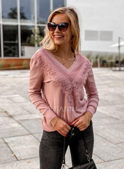 Sweter Roxi z dekoltem w V pudrowy 2