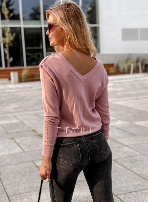Sweter Roxi z dekoltem w V pudrowy 3