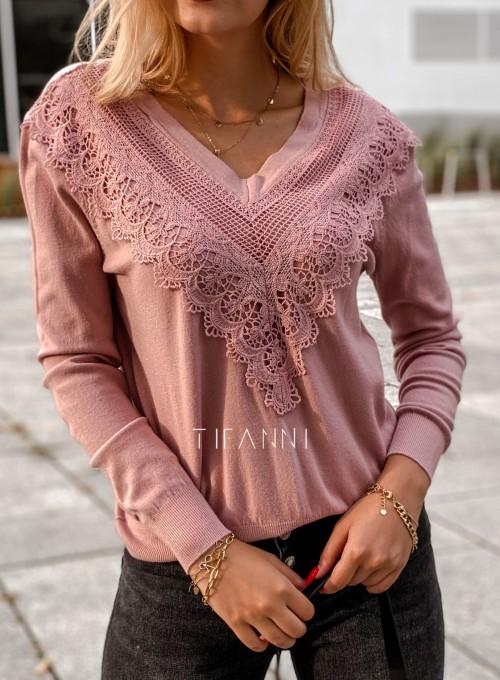 Sweter Roxi z dekoltem w V pudrowy 1