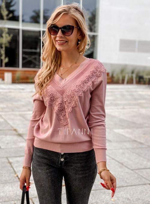 Sweter Roxi z dekoltem w V pudrowy 4