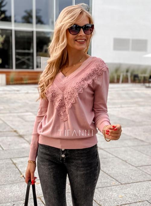 Sweter Roxi z dekoltem w V pudrowy 5
