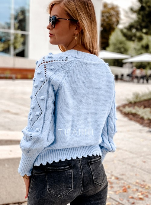 Sweter rozpinany z ozdobnymi guziczkami Carlen blue 2