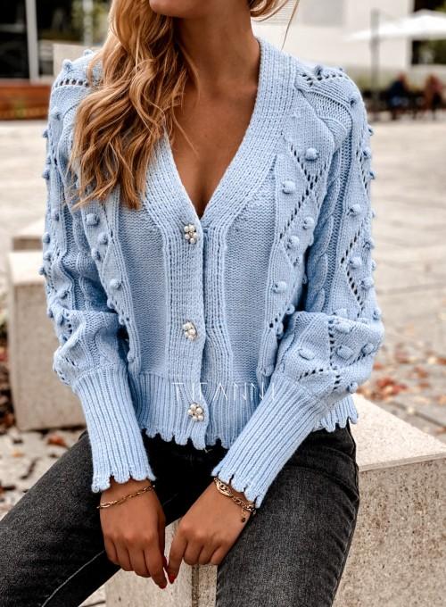Sweter rozpinany z ozdobnymi guziczkami Carlen blue 1