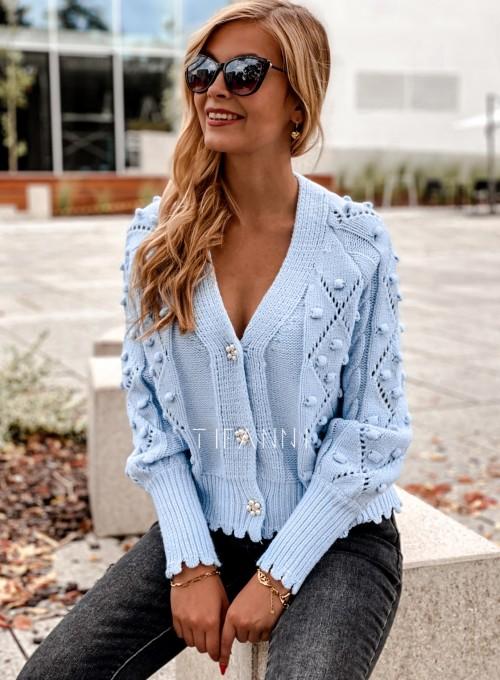 Sweter rozpinany z ozdobnymi guziczkami Carlen blue 3