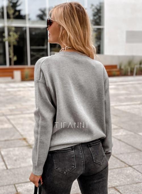 Bluzka sweter z łańcuszkiem Marco szara 3