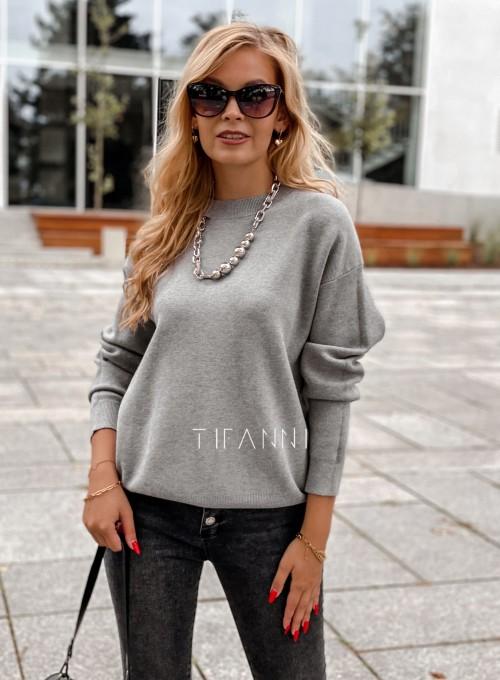Bluzka sweter z łańcuszkiem Marco szara 4