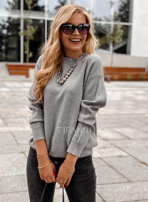 Bluzka sweter z łańcuszkiem Marco szara 2