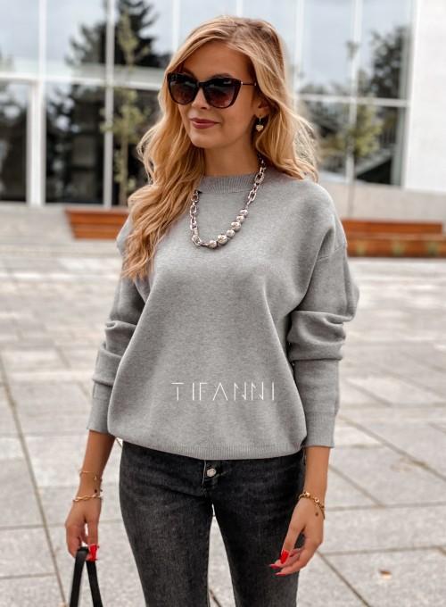 Bluzka sweter z łańcuszkiem Marco szara 5