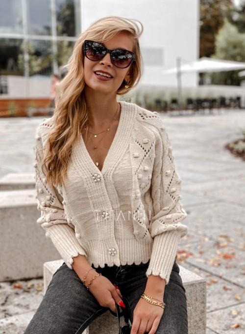 Sweter rozpinany z ozdobnymi guziczkami Carlen cream