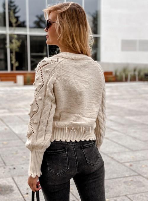 Sweter rozpinany z ozdobnymi guziczkami Carlen cream 3