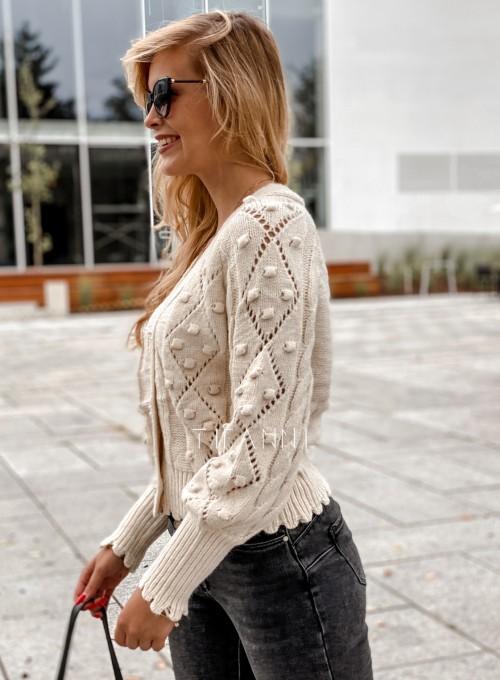 Sweter rozpinany z ozdobnymi guziczkami Carlen cream 4