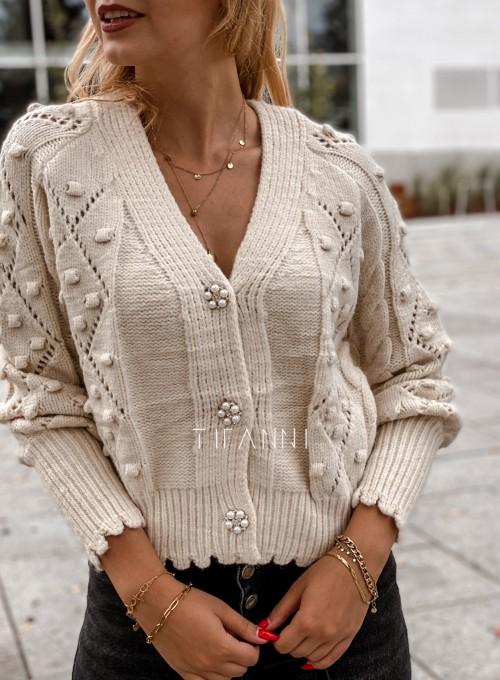 Sweter rozpinany z ozdobnymi guziczkami Carlen cream 1