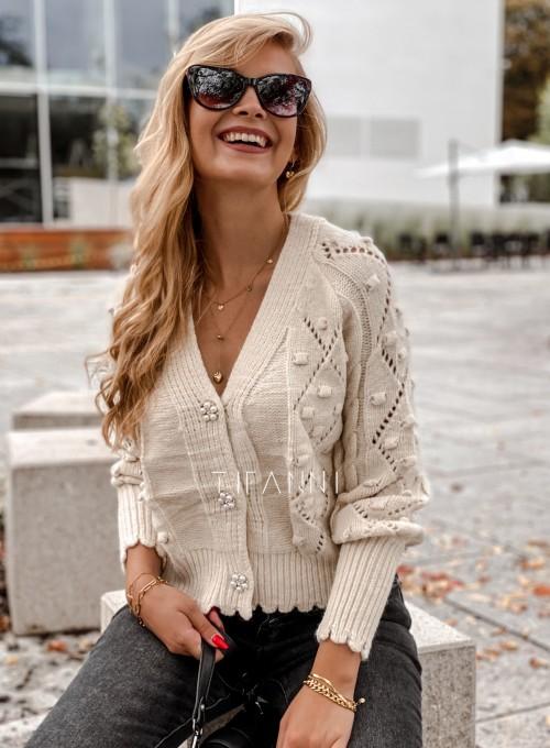Sweter rozpinany z ozdobnymi guziczkami Carlen cream 5