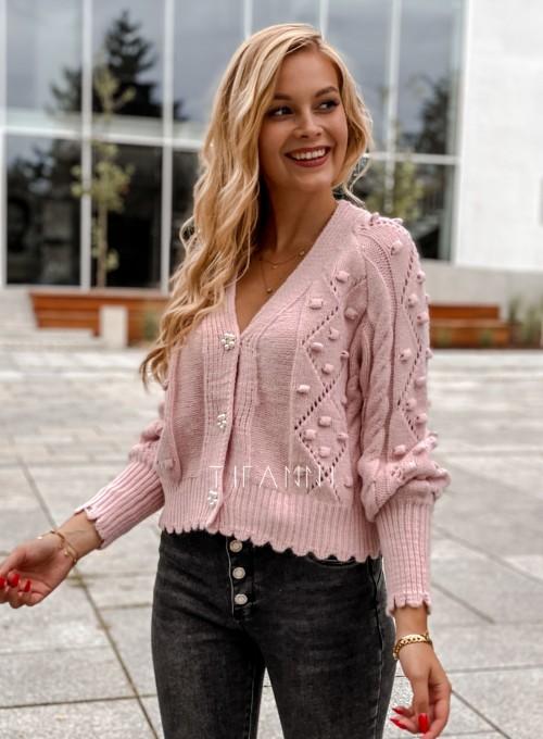 Sweter rozpinany z ozdobnymi guziczkami Carlen pudrowy 2