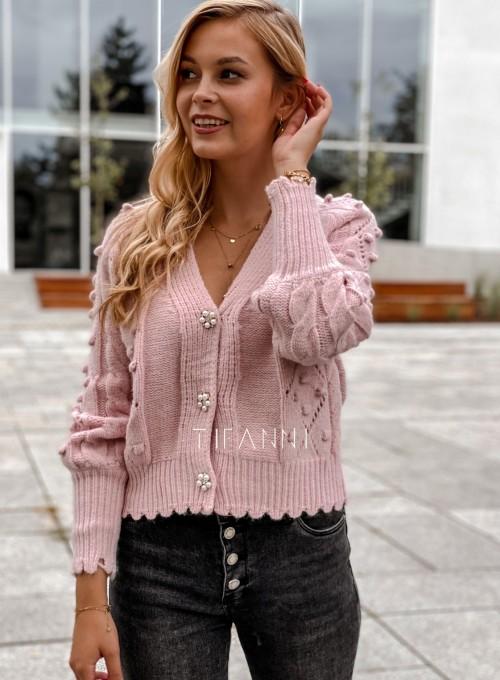 Sweter rozpinany z ozdobnymi guziczkami Carlen pudrowy 3