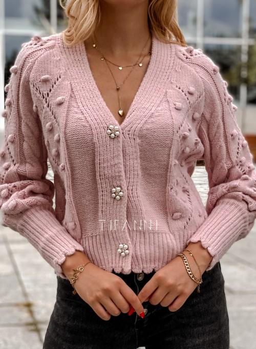 Sweter rozpinany z ozdobnymi guziczkami Carlen pudrowy 1