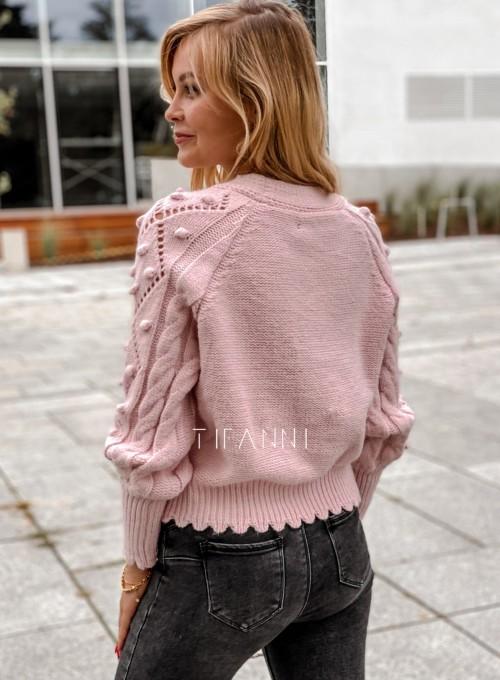 Sweter rozpinany z ozdobnymi guziczkami Carlen pudrowy 4