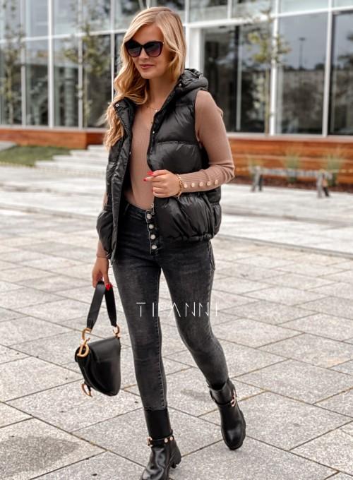 Spodnie jeansowe czarne 4 guziki Alesssa 2