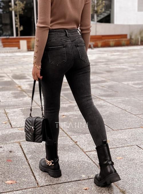 Spodnie jeansowe czarne 4 guziki Alesssa 1