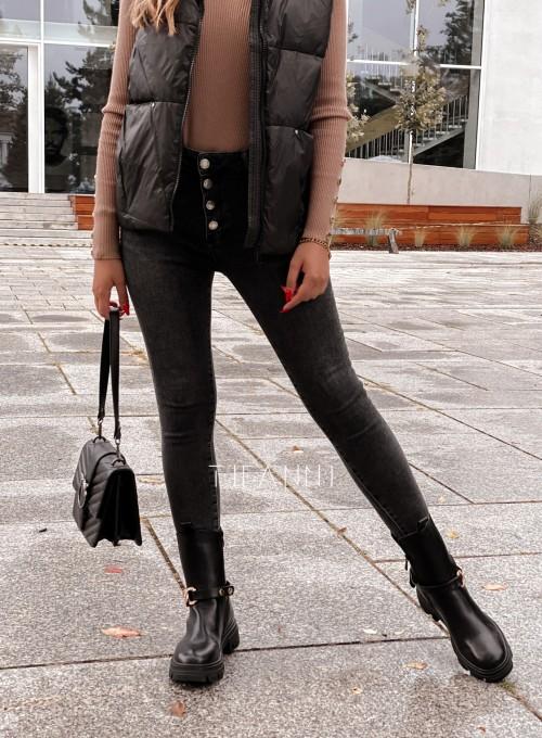 Spodnie jeansowe czarne 4 guziki Alesssa 3