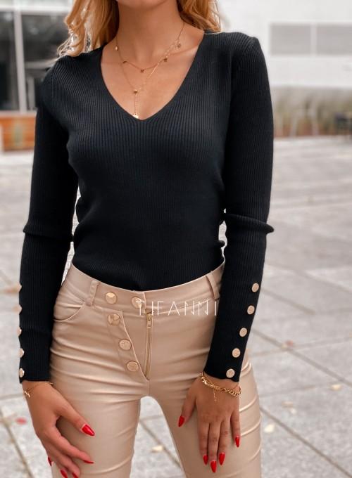 Bluzka z guziczkami na rękawie Bari czarna 3