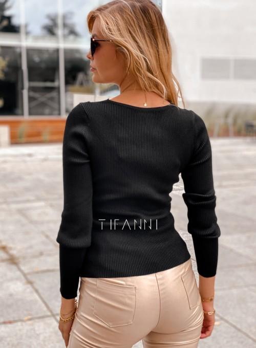 Bluzka z koronkowym dekoltem Tiara czarna 3