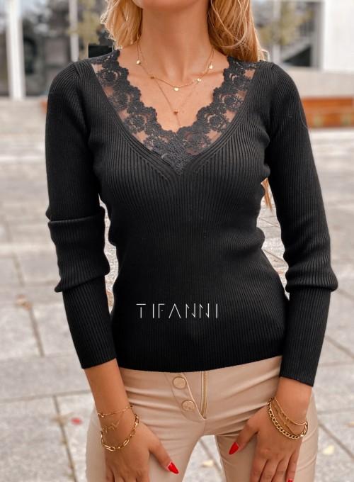 Bluzka z koronkowym dekoltem Tiara czarna 1