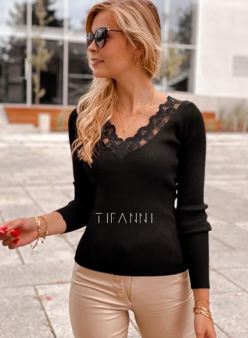 Bluzka z koronkowym dekoltem Tiara czarna 4